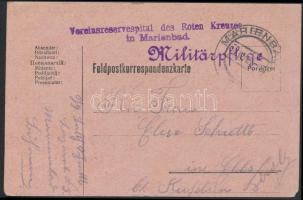 1916 Tábori posta levelezőlap Vereinsreservespital des Roten Kreuzes in Marienbad