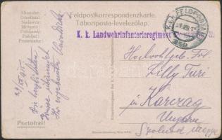 1915 Tábori posta képeslap K.k. Landwehrinfanterieregiment