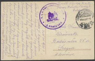 1916 Tábori posta képeslap K.u.k. PIONIERBATAILLON No.4. / 3. KOMPAGNIE + TP 109