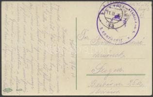 1916 Tábori posta képeslap K.u.k. PIONIERBATAILLON No.4. / 3. KOMPAGNIE + FP 73