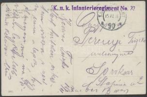1916 Tábori posta képeslap K.u.k. Infanterieregiment No. 32. + FP 90 a