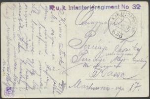 1917 Tábori posta képeslap K.u.k. Infanterieregiment No. 32. + FP 638