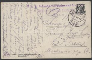 1917 Tábori posta képeslap K.u.k. Infanterieregiment No. 32. Technische Infanterie Kompagnie + FP 638