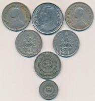 Thaiföld 1962. 1B Cu-Ni IX. Ráma (2x) + 1977-1979. 5B Cu-Ni IX. Ráma + Ceylon 1963. 25c Cu-Ni + 1969. 1R Cu-Ni + Irán 1973-1974. 5R Cu-Ni (2x) T:2-3 Thailand 1962. 1 Bhat Cu-Ni Rama IX (2x) + 1977-1979. 5 Bhat Cu-Ni Rama IX + Ceylon 1963. 25 Cents Cu-Ni + 1969. 1 Rupee Cu-Ni + Iran 1973-1974. 5 Rials Cu-Ni (2x) C:XF-F Krause Y#84, Y#111, KM#131, KM#133, KM#1176