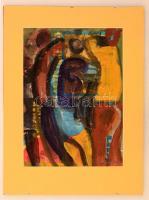 Cs. Németh Miklós (1934-2012): Fiatalok. Akvarell, papír, jelzett, 29×21 cm
