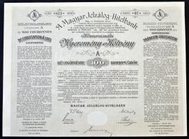 Budapest 1906. A Magyar Jelzálog-Hitelbank nyereménykötvénye, A részkötvény 100K-ról, szárazpecséttel T:II
