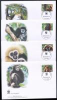 WWF Monkey set 4 FDC, WWF: Majmok sor 4 db FDC-n