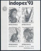 WWF Orangutan stamp exhibition block with blackprint, WWF: Orangután bélyegkiállítási blokk feketenyomat