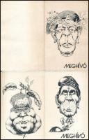 Meghívó Lengyel Gyula grafikusművész kiállítására, a két darab közül az egyik aláírt és dedikált (a karikatúrákon Berecz János és Karvalics Ferenc)
