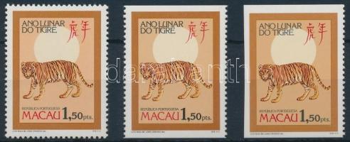 1986 Kínai újév: Tigris éve 3 bélyeg 3-féle fogazással Mi 550