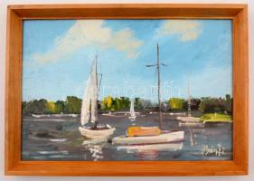 Bánfi jelzéssel: Balatoni vitorlások partközelben. Olaj, karton, keretben, 22×33 cm
