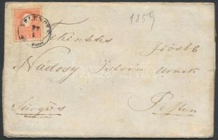 1859 5kr levélen ,,VELENCZE - ,,PESTH