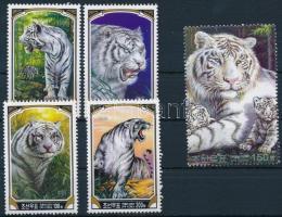 White Tiger set from block, Fehér tigris blokkokból kitépett sor