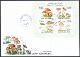 Mushroom mini sheet FDC, Gomba kisív FDC-n