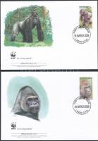 WWF: Hegyi gorilla sor 4 db FDC-n WWF: Mountain gorilla set on 4 FDC