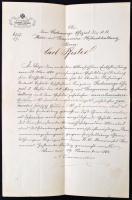 1864 A budai német Karl David Pfister (1822-?), a cs. kir. Pénzverési- és Bányászati Udvari Könyvelés számvevőtisztje részére írt német nyelvű levél a cs. kir. Felső Számvevőhivataltól fizetésemelés tárgyában, felzetes hivatali papírpecséttel /