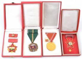 ~1960-1980. Szakszervezetek Országos Tanácsa arany fokozatának kitüntetése, szalagsávon miniatűrrel eredeti dísztokban + A Haza Szolgálatáért bronz fokozat Br kitüntetés mellszalaggal, szalagsávval, tokban + Honvédelmi Érdemérem aranyozott fém kitüntetés mellszalagon, 15 év után, dísztokban, mellette egy 15 év Törzsgárda jelvény + Kiváló Dolgozó zománcozott fém kitüntetés miniatűrrel tokban T:2