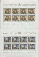 Prince Franz Joseph II. mini sheet set (50Rp broken on upper margin), II. Ferenc József herceg kisív sor (50Rp ív felső szélén enyhe törés)