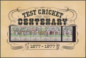 Cricket set stripe of 5 on memorial sheet, Krikett sor ötöscsíkkal emléklapon