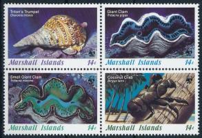 1986 WWF: Tengeri csiga és kagyló négyestömb Mi 73-76