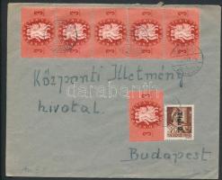 1946 (8. díjszabás) Távolsági levél Betűs Tlp.2./4f + Köztársaság 6x3ezer P bérmentesítéssel