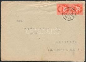 1946 (8. díjszabás) Távolsági levél Lovasfutár 2x10ezerP bérmentesítéssel a díjszabás első napján, érdekes tartalommal