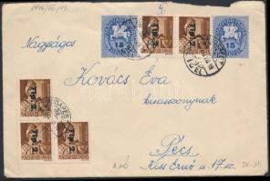 1946 (9. díjszabás) Távolsági levél Betűs 6xTlp.2./4f + Lovasfutár 2x15ezerP bérmentesítéssel