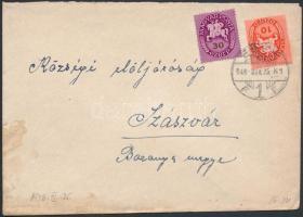 1946 (9. díjszabás) Távolsági levél Lovasfutár 10ezerP + 30ezerP bérmentesítéssel
