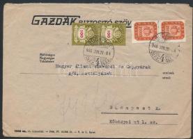 1946 (21. díjszabás) Helyi levél Milpengős 20000mP pár + Milliárdos 100mdP pár bérmentesítéssel (gyűrött, sérült boríték)