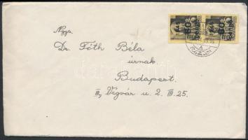 1945 (5. díjszabás) Távolsági levél Kisegítő 60P/18f párral bérmentesítve, tartalommal