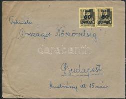 1945 (5. díjszabás) Távolsági levél Kisegítő 60P/18f párral bérmentesítve