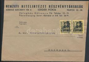 1945 (5. díjszabás) Távolsági levél Kisegítő 2x60P/18f párral bérmentesítve (borítéké szétnyitva)
