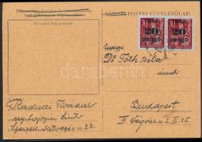 1945 (4. díjszabás) Távolsági levelezőlap Kisegítő 2x20P/30f bérmentesítéssel