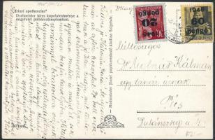 1945 (5. díjszabás) Távolsági képeslap Kisegítő 20P/30f + 60P/18f bérmentesítéssel