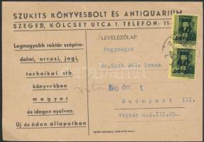 1945 (5. díjszabás) Távolsági levelezőlap Kisegítő 2x40P/8f bérmentesítéssel