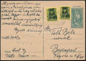 1946 (5. díjszabás) Távolsági levelezőlap Kisegítő 2x40P/8f bérmentesítéssel