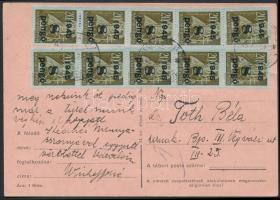 1945 (5. díjszabás) Távolsági levelezőlap Kisegítő 10x8P/20f bérmentesítéssel