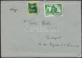 1945 (5. díjszabás) Távolsági levél Kisegítő 100P/12f + Újjáépítés 20P bérmentesítéssel, tartalommal