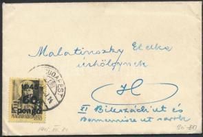 1945 (5. díjszabás) Helyi kis levél Kisegítő 60P/18f bérmentesítéssel, 20P-vel alul bérmentesítve, tartalommal