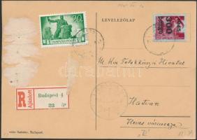 1945 (5. díjszabás) Ajánlott távolsági levelező Kisegítő 100P/30f + Újjáépítés 20P bérmentesítéssel