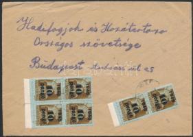 1945 (4. díjszabás) Távolsági levél Kisegítő 6x10P/80f bérmentesítéssel