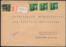 1945 (5. díjszabás) Ajánlott távolsági levél Kisegítő 60P/18f + 3x100P/12f bérmentesítéssel