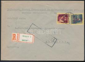 1945 (2. díjszabás) Ajánlott távolsági cenzúrázott levél Kisegítő 3P/3f +5P/5P bérmentesítéssel