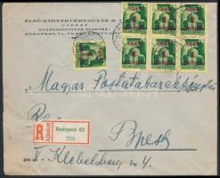 1945 (2. díjszabás) Ajánlott helyi levél Kisegítő 7x1P/1P bérmentesítéssel