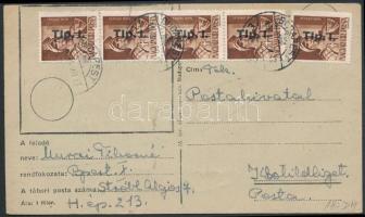 1946 (7. díjszabás) Távolsági levelezőlap Betűs 5xTlp.I./4f bérmentesítéssel
