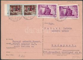 1946 (8. díjszabás) Helyi levelezőlap Betűs 5xTl.2./10f + Újjáépítés 2x1000P bérmentesítéssel