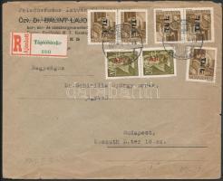 1946 (7. díjszabás) Ajánlott távolsági levél Betűs 5xTl.I./10f + 5x Ajl.I./20f bérmentesítéssel (sérült boríték)