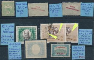 8 db bélyeg nyomdai hibákkal, eltérésekkel