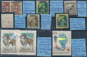 10 db bélyeg nyomdai hibákkal, eltérésekkel