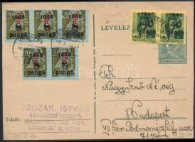 1946 (7. díjszabás) Helyi levelezőlap Betűs 5xHpl.I./8P + Kisegítő 40P/8f párral bérmentesítve